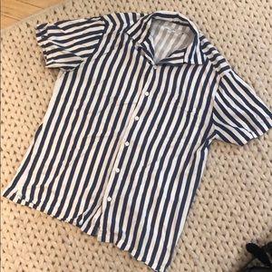 Onia Vacation Blue White Stripe SS Shirt Size M